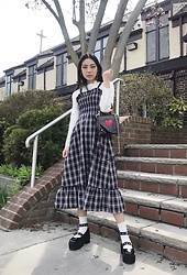 Yonish - Mixxmix White Mockneck, Yesstyle Plaid Ruffle Dress, Zaful Heart Satchel, Yesstyle Mary Jane Platforms - Spring romance