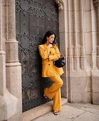 Edisa Shahini - Zara Blazer, Zara Pants, Mango Bag - Yellow on Yellow