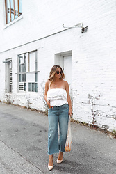 Alexandra G. - Mavi Cropped Jeans, American Eagle Smocked Tube Top - Cropped