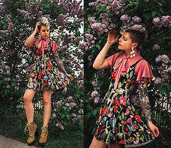 Carolyn W - Black Milk Clothing Frilly, Black Milk Clothing Desert Florals, Jeffrey Campbell Shoes Yellow - Amongst the Lilacs