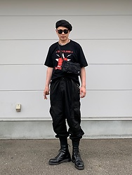 ★masaki★ - The Clash Tee, Rothco Cargo Pants, Dr. Martens 8hole, My Treasure Bag - Allblack outfit