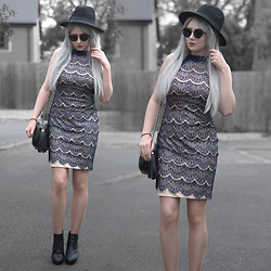 Sammi Jackson - Primark Black Fedora, Zaful Sunglasses, Ever Pretty Lace Dress, Everything5pounds Tassel Bag, Office Chunky Ankle Boots - LACE DRESS