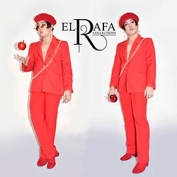 Rafa Concepcion - Elrafa Beret Hat, Elrafa Cross Earrings, Elrafa Red Blazer, Elrafa Red Slacks, Forever 21 Red Velvet Booties - Are you REDdy? 🍎