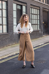 Summer R - Massimo Dutti White Cotton Scallop Top, Massimo Dutti Linen Camel Cropped Culottes, And Other Stories Black Leather Loafers - Holborn stroll