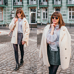 Christina&Karina Vartanovy - Chic Wish Out With A Sherpa Coat In Ivory, Chic Wish Duly Dreamy Bowknot Dotted Mesh Top In Grey, Zara Black Jacquard Mini Skirt, Asos Shoulder Bag With Wide Snake Detail, Asos Truffle Collection Front Zip Up Ankle Boots - Christina // busy earnin'