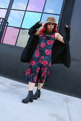 Yuka I. - Mesh Top, Rose Slip Dress, Cardigan, Leopard Bucket Hat, Boots - Rose without a thorn