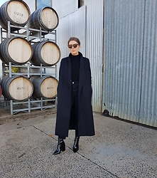 Angharad Jones - Uniqlo Sunglasses, Zara Jumper, & Other Stories Coat, Topshop Jeans, Alias Mae Boots - All Black for Winter