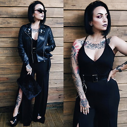 Priska Gomez - Real Eyez Black Sunglasses, Zara Black Biker Jacket, Str Black Faux Fur Clutch, Seaside Black Platform Sandals, C&A Silver Necklace, Missguided Black Jumper, Ebay Black Chain Belt - Edge of Darkness
