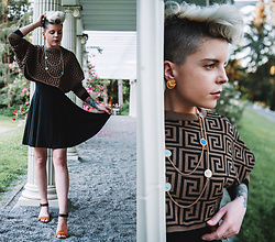 Carolyn W - Femme Luxe Patterned, Black Milk Clothing, Grand Tour Collection Gold, Mustard - Grecian Pattern