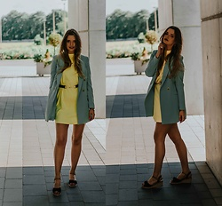 Marcela Wlodarczyk - Stradivarius Mint Jacket, Mango Dress - Yellow & mint