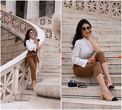 Edisa Shahini - Zara Top, Asos Pants, Chanel Shoes, Chloe Sunglasses - Orange Town