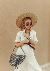 Joicy Muniz - Mango Hat, Vintage Sunglasses, Designed By Me To Mockberg Wacth, Object Dress, Christian Dior Bag - Summer feeling!