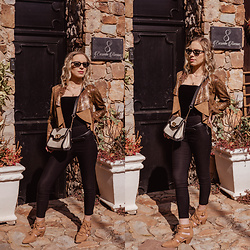 Ingrid G - Zara Snake Print Jacket, Woolworths Black Skinny Pants, Cotton On Tan Lace Up Ankle Boots - Sunny Sweetheart