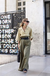 Anna Borisovna - Mango Shirt, Massimo Dutti Belt, Zara Pants, Zara Earrings, Céline Sunglasses - The Linen Pants