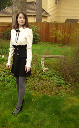 Brittany Justus - American Apparel Thigh High Socks, Chunky Heels Shoe, Black And White Ruffle Dress - New School Uniform