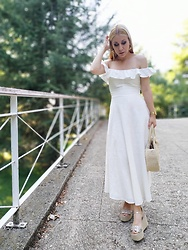 Patricia Jiménez - Zara Dress, Zara Wedges - Midi White Dress