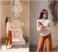 Edisa Shahini - H&M Top, H&M Pants, Saint Laurent Bag - Beige & Brown