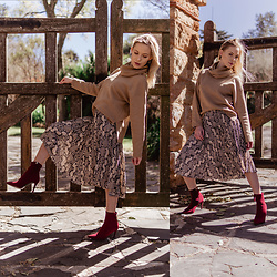 Ingrid G - H&M Camel Rolled Neck Sweater, H&M Snake Print Pleated Skirt, Woolworths Red High Heel Ankle Boots - NY girl in the country