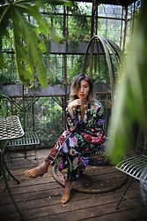 Louise Xin - Louise Xin Silk Clutch Bag, Zara Yellow Heels, H&M Kimono - Secret garden