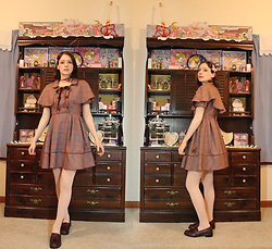 Brittany Justus - Liz Lisa Tarten Cape Dress, American Apparel Knit Over The Knee Socks, Fint Loafers, Icing Pleather Rose Choker, Handmande Copper Rhinstone Bunny Headband - Liz Lisa Tartan Caplet Dress