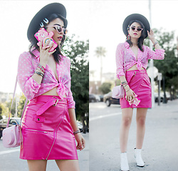 KENDALL SANCHÈZ - Hair Clips, Rainbow Earrings, Forever 21 Rose Choker, Thrifted Pink Polka Dot Blouse, Pink Faux Leather Skirt, Forever 21 White Booties - .Pretty In Pink.