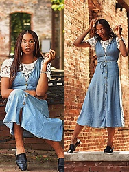 The Highly Expressive - Thrifted Denim Dress - Why read signals when i can just read a book?