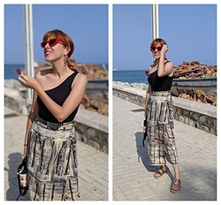 Mi Vida En Rojo - Vintage Skirt, Zara Top, Zara Sunnies - Summer Nights