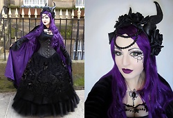 Lucinda ★ Van Tassel - Burleska Brocade Corset, Dark Star Skirt, Dark Star Cloak, Restyle Headdress, Alchemy Necklace - ❤ Gothic Fairytale ❤