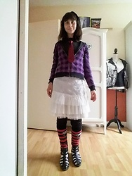Lulu Longstocking - Thrifted Hoodie, Thrifted Skirt, Bad Alice Legwarmers, Tie - Emo