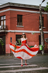 Andreea Birsan - Pleated Midi Dress, Red Slingback Shoes, Chain Belt, Cat Eye Sunglasses, Necklace - Drop it like it's hot