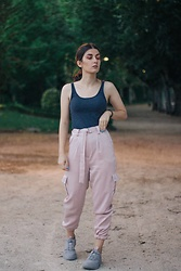 Adriana R. - Femme Luxe Rose Belted Cargo Satin Cigarette Trousers Athenea, Pull & Bear Chunky Lavender Sneakers - Rose Cargo Satin Pants / 90's Cargo Pants are Back!