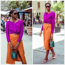 PAMELA - Topshop Box Bag, Asos Wrap Midi Skirt, C&A Satin Blouse - Chic Summer in the City
