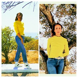 Galina K - Otto Sweatshirt, Mango Jeans - Sporty yellow sweatshirt