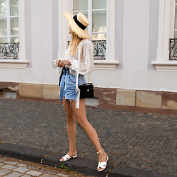Catherine V. - H&M Straw Hat, The Kooples Blouse, Mango Paperbag Denim Short, Sacha Mules, Zara Straw Bag - THE ROMANTIC BLOUSE THAT I LOVE TOO MUCH