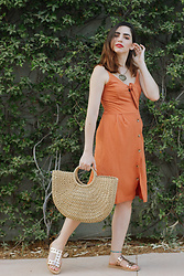 Life Stalkers - Pop Air Midi Dress, Pop Air Straw Bag, Bozikis Sandals - The Sunset Dress