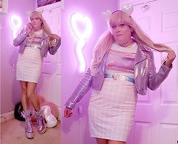 PastelKawaii Barbie - Handmade Iridescent Heart Sequin Headband, Ebay Pink Holographic Heart Choker, Milk Club Vaporwave Internet Princess Shirt, Ebay Iridescent Heart Belt, Redbubble Pastel Grid Skirt, Dolls Kill Holographic Purple Boots, Forever 21 Iridescent Motor Jacket - Call me Space Babe👽🚀👾🌌