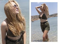 Ewa Michalik - Promod Shorts, Seafolly Swimsuit, Vasuma Sunglasses - Sunbathing in Greece