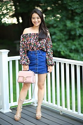 Kimberly Kong - Zara Floral Off The Shoulder, Gucci Shoulder Bag - Remix: The Cutest Off The Shoulder Top