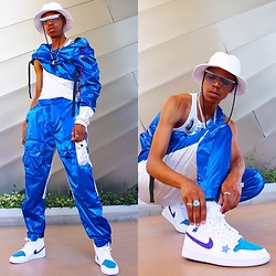 Dominic Grizzelle - Blank State Reflective Cargos, Blank State Reflective Track Jacket, Nike Diy Jordan 1s - Aqua man