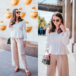 Christina&Karina Vartanovy - Chic Wish Shirred Chiffon Top In White, Chic Wish Belted Wide Leg Pants In Beige, Newchic Crocodile Pattern Chain Cross Body Bag, New Look Cross Strap Flat Slider Sandal In Tan - Karina // Summer Girl