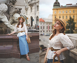 Daniela Guti - Top, Belt, Earrings, Skirt - POLKA DOT + DENIM