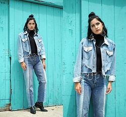 Lexi L - Custom Denim Jacket, Bdg Two Tone Jeans, Barneys New York Black Ankle Boots - Make It Forever