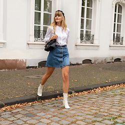 Catherine V. - Asos Pearl Headband, Vintage Blouse, Noisy May Denim Skirt, The Archiduchess Bag, H&M White Boots - WHAT I WEAR FOR CLOUDY SUMMER DAYS