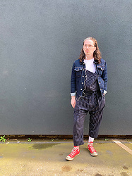 Harry J Bartlett - Topman Denim Jacket, All Saints White Tee, Vivienne Westwood Striped Dungarees, Liam Hodges White Socks, Converse Red, Vision Express Wire Frame Glasses - Mulling Around