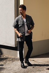 Kevin Elezaj - Hugo Boss Boots, Topman Jeans, Sandro Shirt, Tiger Of Sweden Bag - Busy days