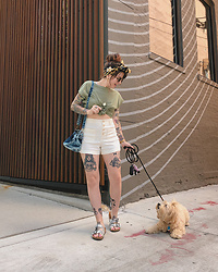 Jessie Barber - Zara Olive Tee, Free People Mini Denim Tote, Gap High Rise Shorts, Amazon Cork Slide Sandals, Thrifted Printed Scarf, Madewell Fest Aviators, Ettika Double Coin Pendent Necklace - Dog Days of Summer