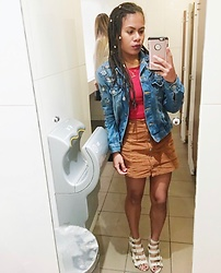 Boio Stansfield - Spurrs Shoes Heels, Dorothy Perkins Denim Jacket - Rasta vibes