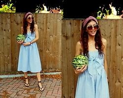 Joanna L - Zara Sandals, Primark Dress, Primark Pearl Headband - Zara square sandals / primark midi dress