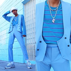 Dominic Grizzelle - Twisted Tailor Vest, Taka Original Striped Long Sleeve Shirt, Twisted Tailor Trousers, New Balance - BUBBLES