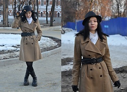 Bogena Día - Mango Beige Coat, Terranova Black Hat, Ostin Black Belt, Ranger Black Leather Boots - I am you